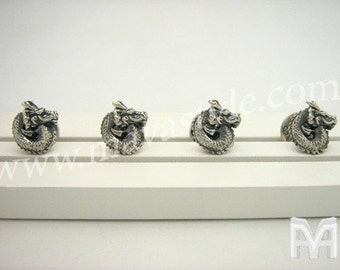 Solid 925 Sterling Silver Dragon Tuxedo Buttons Studs