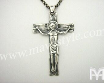 Sterling Silver Jesus Christ Cross Pendant Pendentif