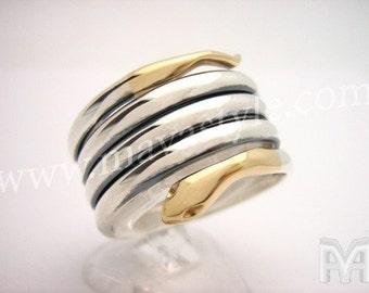 Gold Sterling Silver Snake Python Ring Bague de Serpent