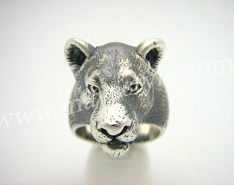 Sterling Silver Lioness Lion Tiger Jaguar Panther Ring