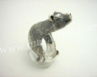 Sterling Silver Polar Bear Ring