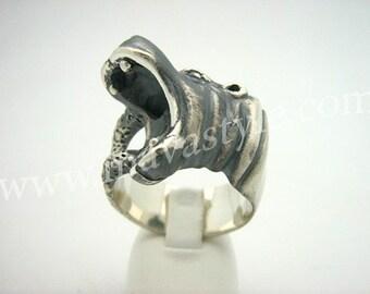 Sterling Silver Hippopotamus Ring