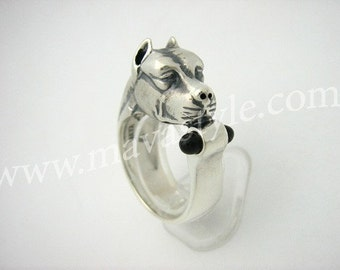 Sterling Silver Pitbull Ring