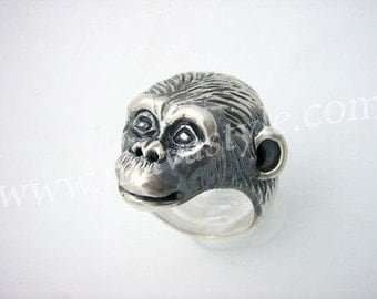 Sterling Silver Chimpanzee Ring