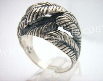 Sterling Silver Feather Ring Feathers  Bague de Plume