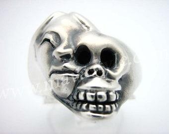 Sterling Silver Life & Death Ring Skull Bague en Argent