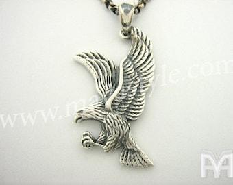 Sterling Silver American Eagle Pendant Pendentif Aigle