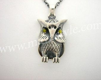 Sterling Silver Owl Bird Pendant Medallion Chain Animal