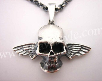 Sterling Silver Flying Skull with Angel Wings Pendant