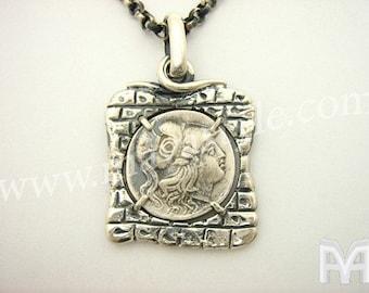 Silver Antique Coin Replica Alexander Athena Pendant