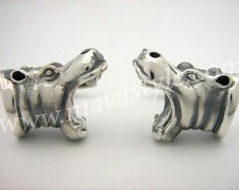Sterling Silver Hippopotamus Cufflinks