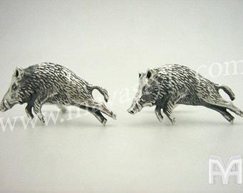 Sterling Silver Running Boar Cufflinks
