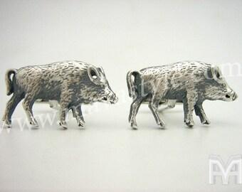 Sterling Silver Wild Boar Cufflinks