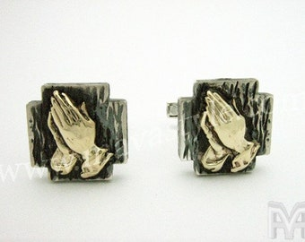 925 Sterling Silver Cross Cufflinks Gold Praying Hands