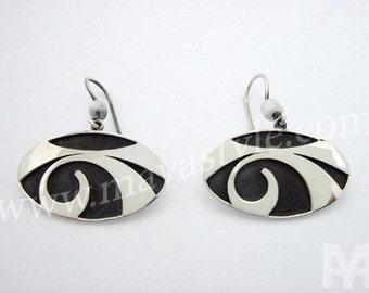 Sterling Silver Eye Design Dangle Earrings Jewelry Yeux