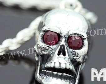 Sterling Silver Skull with Ruby Eyes & Spider Web Pendant