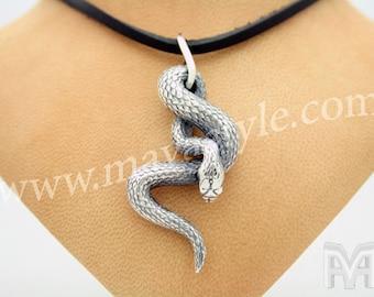 Sterling Silver Snake Pendant Python Anaconda Medallion Rocker Biker Rockstar