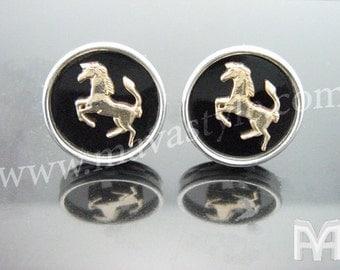 Sterling Silver & Gold Prancing Horse Cufflinks
