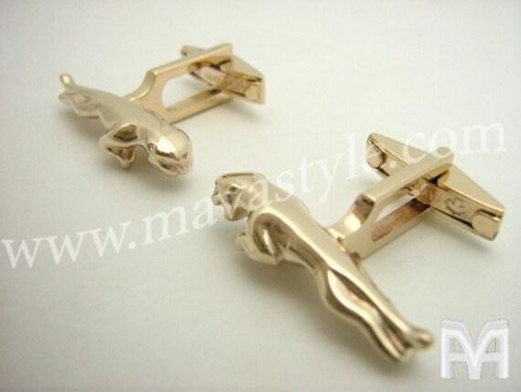 Gold Leaping Jaguar Cufflinks