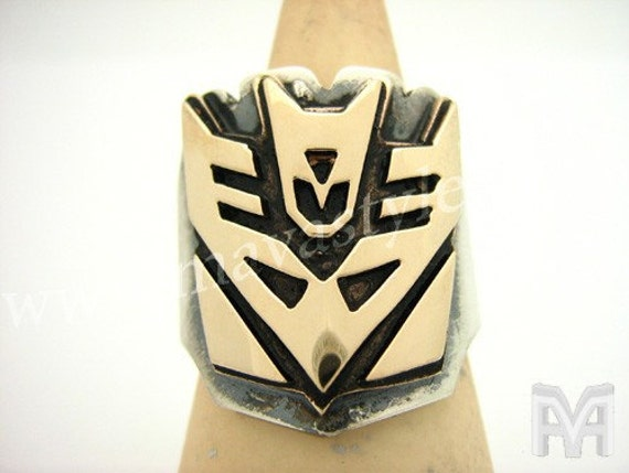 Sterling Silver & Yellow Gold Decepticon Transformers Ring Bague en Or Argent