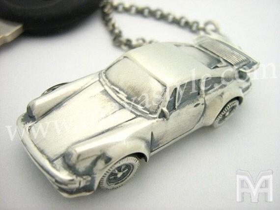 Sterling Silver Porsche 930 Keychain