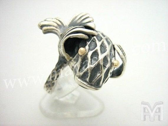sterling silver fish ring gold bague de poisson