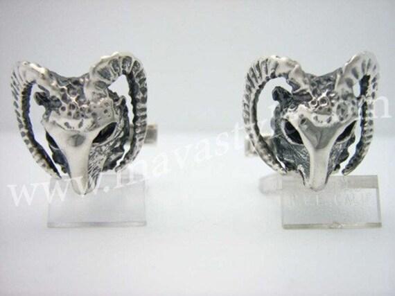Sterling Silver Ram Skull Cufflinks