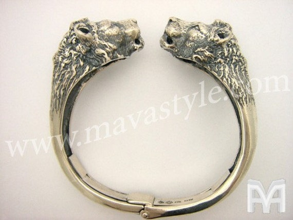 Sterling Silver Animal Lion King Cuff Bracelet Bangle