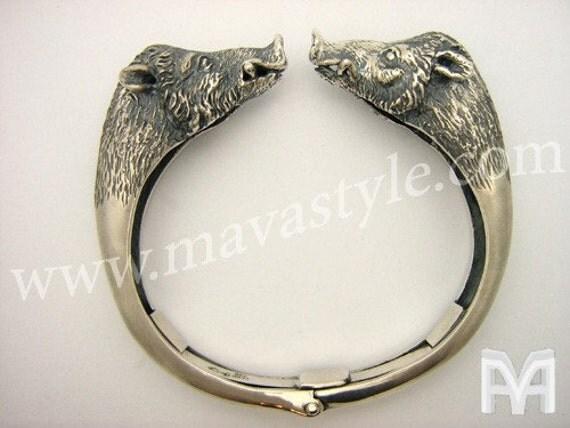 Sterling Silver Animal Wild Boar Cuff Bracelet Bangle