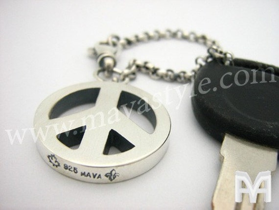 Sterling Silver Peace Symbol Keychain