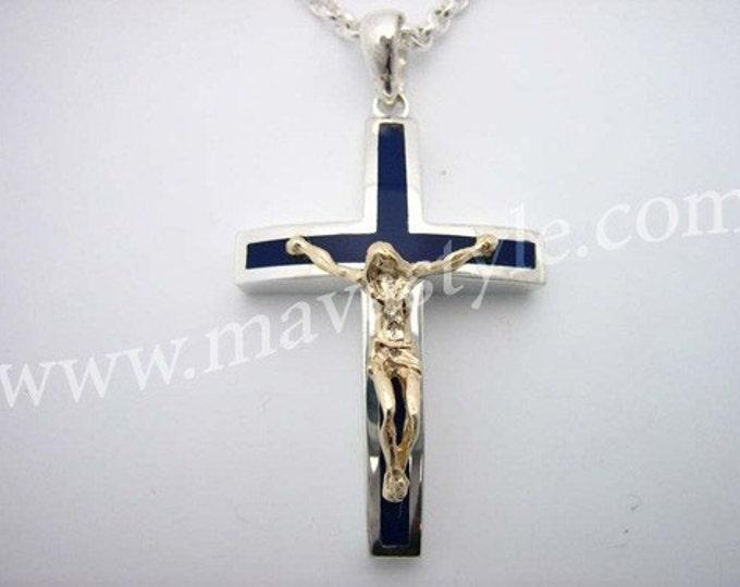925 Sterling Silver Blue Cross Gold Jesus Christ Croix