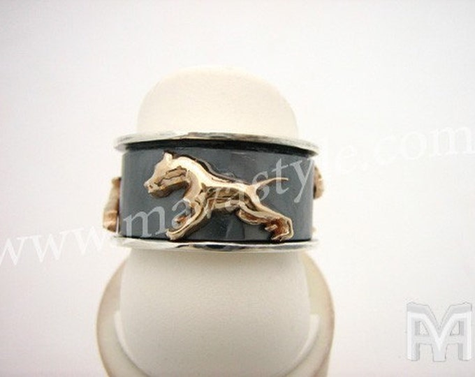 Silver Gold Pitbull Pit Bull Dog Spinner Spinning Ring