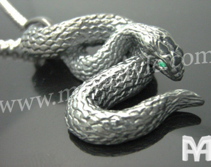 Gold Black Snake with Emerald Eyes Pendant