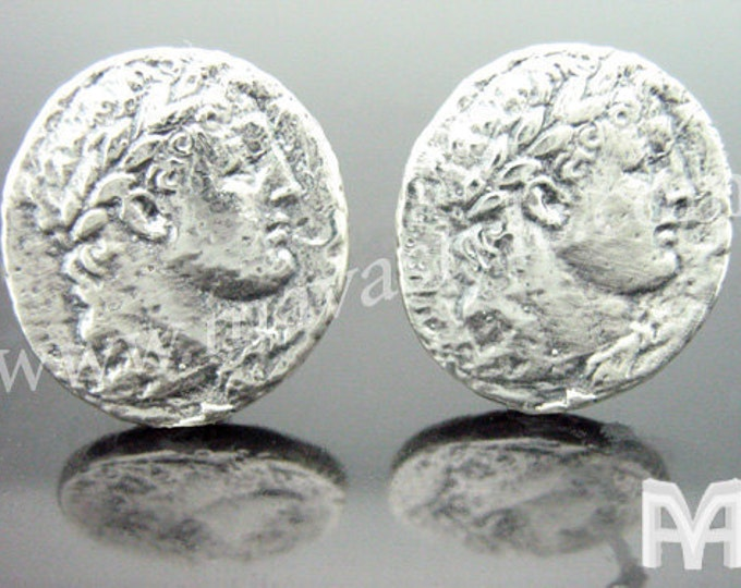 Sterling Silver Alexander the Great Coin Ancient Replica Cufflinks