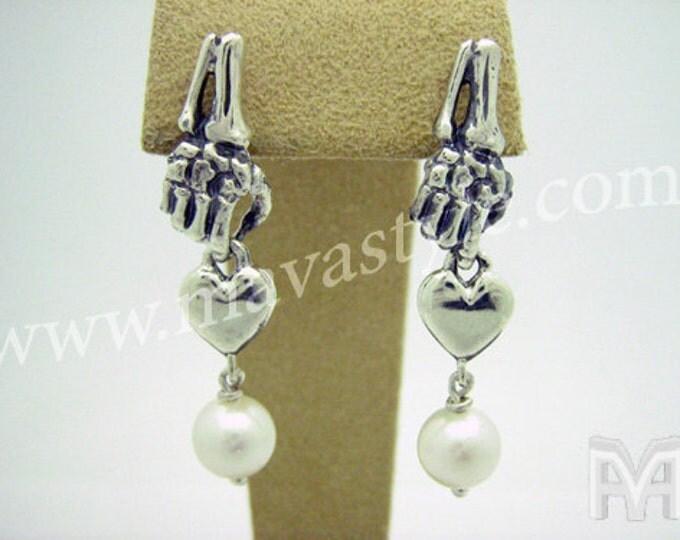 Sterling Silver Gold Skeleton Hand Holding Heart Pearl Earrings