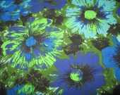 Bright vintage cotton sheeting lime turquoise floral 70s looks like barkcloth fabric material