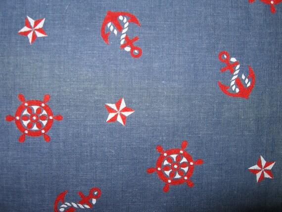 Vintage nautical theme flocked chambray fabric retro pin up motif red white blue 50s