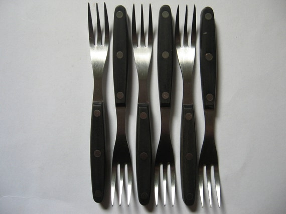 Set of 6 Solingen Germany forks stainless steel NIB mid century modern style