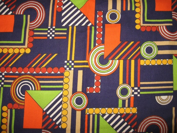 Awesome vintage retro mod upholstery navy lime orange atomic  psychedelic fabric material