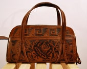 Hand Tooled Leather Aztec Print Purse