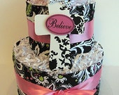 Pink and Black Diaper Cake On Sale Plus FREE SHIPPING