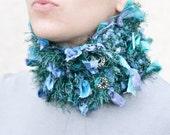 Chunky Shaggy Cowl Crochet Neckwarmer Fiber Art Scarf Blue Emerald Handspun Handdyed OOAK