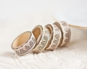 Napkin Rings Organic Bamboo Vintage French Lace Champagne Set of Four Home Decor OOAK Holiday Winter Decor teamcamelot tbteam elitett