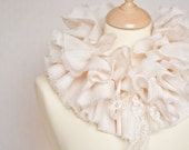 Ruffled Collar Scarf Capelet Shrug Wedding Shabby Chic Champagne Vintage French Lace
