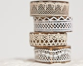 Napkin Rings Organic Bamboo Vintage French Lace Assorted Set of Four OOAK Handmade by frenchfelt on Etsy