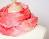 Cobweb Lace Scarf Wool Silk Scarves - Sakura Blossom Light Red Coral Salmon Rose spring fashion pastel tbteam elitett teamcamelot