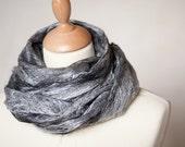 Lace Scarf Felt Cobwel Shawl Silk Baby Alpaca Salt and Pepper black and white grey gray silver eco friendly tbteam