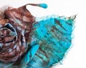 Nuno Felted Scarf Exotic Bird Feather Fiber Art Turquoise Chocolate Brown Periwinkle Shibori ruffles OOAK