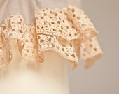 Linen Scarf Vintage French Lace Natural Taupe Beige Peach upcycled Eco Friendly holiday neutral OOAK