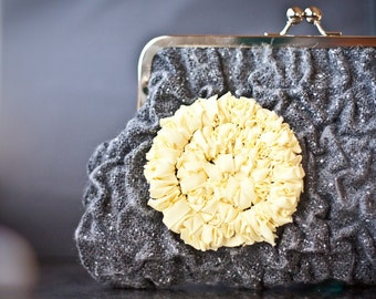 Fiber Art Clutch Purse Nuno Felted Charcoal Gray Yellow Mimosa Puckered OOAK dark neutral pastel